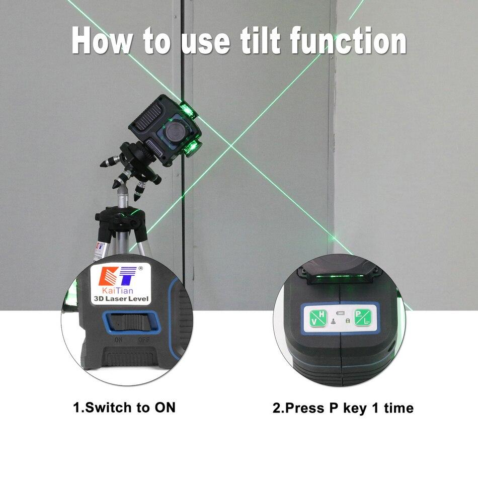 KaiTian Laser Level 360 Green Line tilt function
