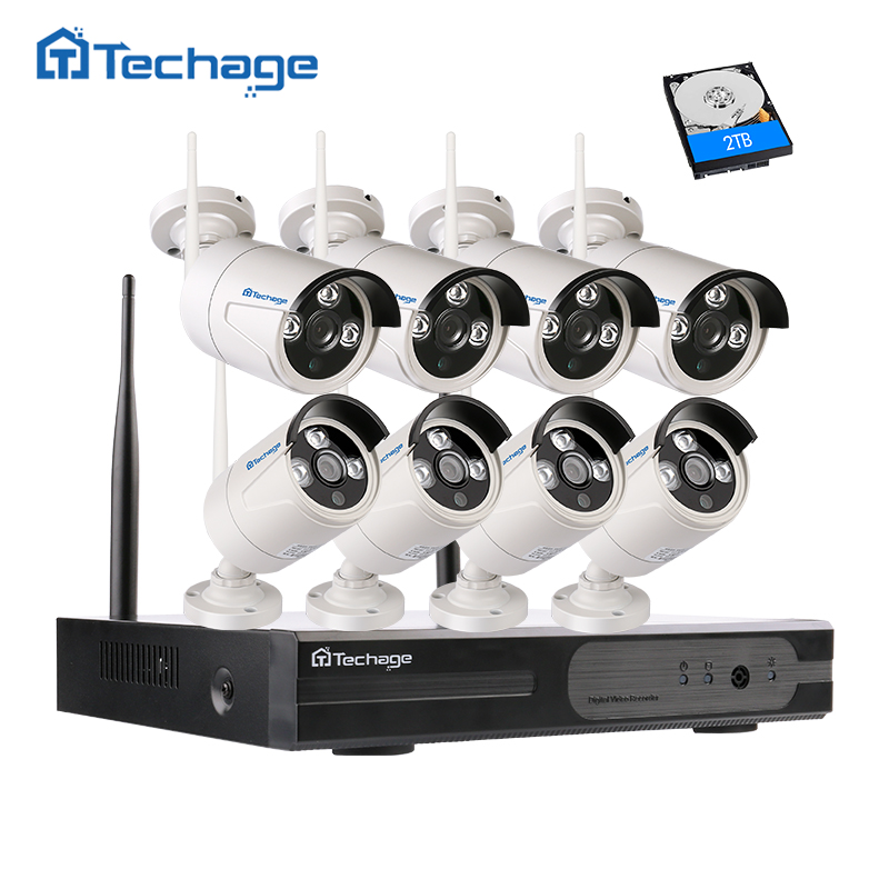 Techage HD 8CH Wireless NVR Kit 720P 1.0MP WIFI CCTV System IR Outdoor IP Video Security Surveillance With 8PCS Camera 1TB HDD 8ch nvr kit 720p 3 6mm waterproof outdoor onvif ir ip camera 1 0mp and 8ch 1080p 720p nvr for cctv security system free shipping