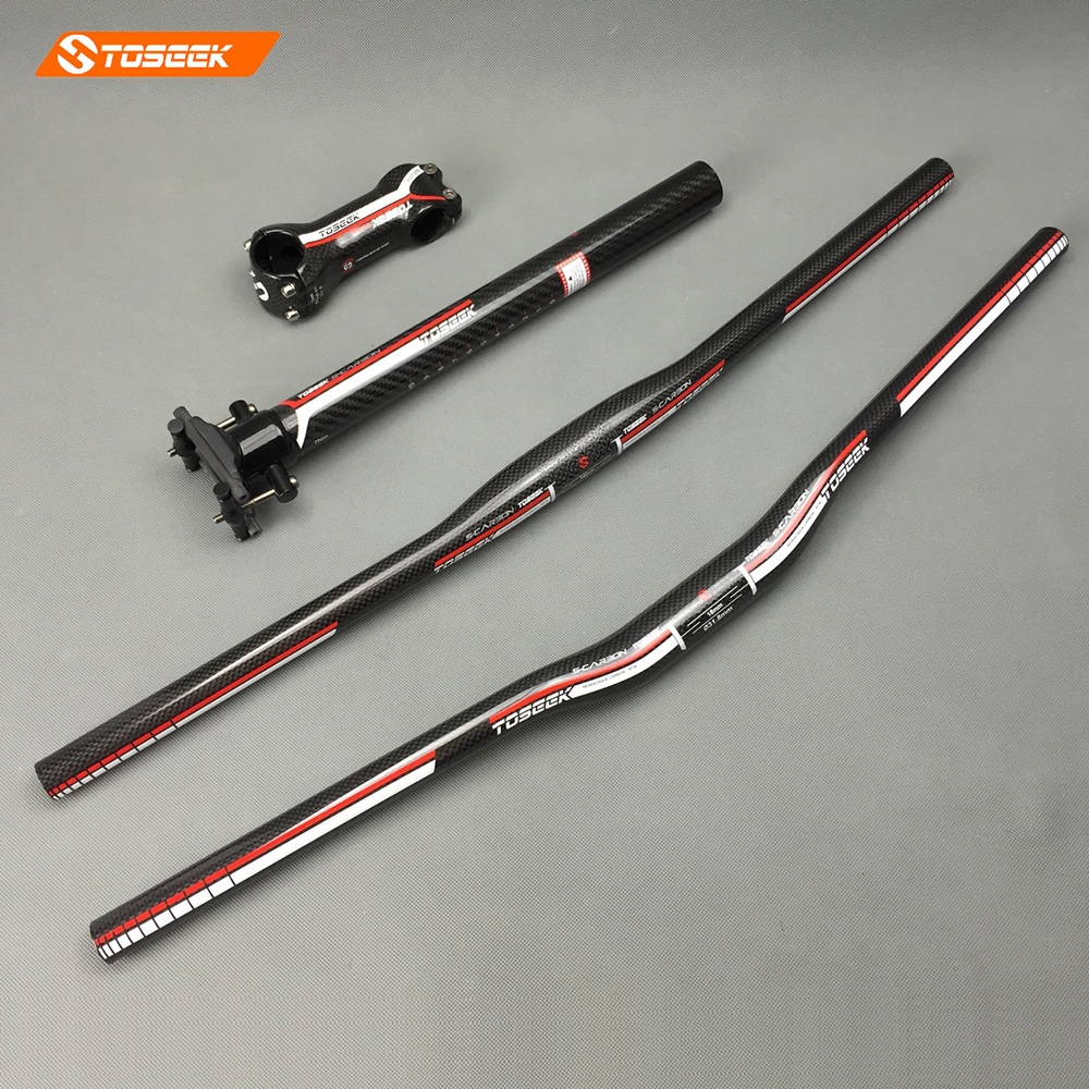 Toseek MTB carbon handlebar set Mountain Bike Handlebar Bicycle Stem Carbon seat post Flat/Rise Handlebar red 3K gloss cycling king c k 2015 mtb handlebar bicycle stem carbon seatpost tube flat or riser mountain bike bar top carbon super set
