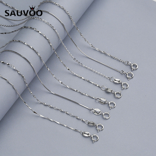 SAUVOO 925 Silver Thin Snake Box Link Rolo Chains 40cm 45cm with Lobster Clasps for Pendant Necklace DIY Jewelry Making Findings