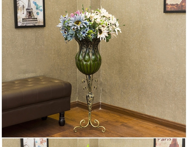 Wrought Iron Glass Vase In Adornment Furnishing Articles The