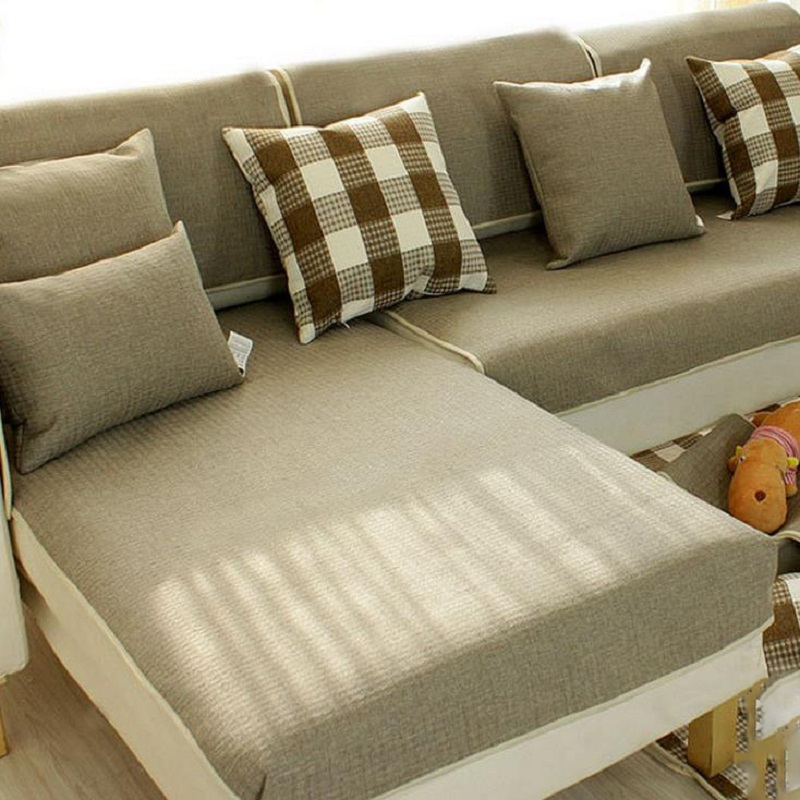 WLIARLEO Sofa Cover Plaid Sofa Backrest Towel Green Armrest ...