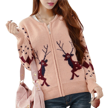 Women Spring Autumn Sweater Cardigans Cute Deer Embroidery Zipper Sweater Poncho Pink Coat Knitted Kawaii Cardigan Pull Femme