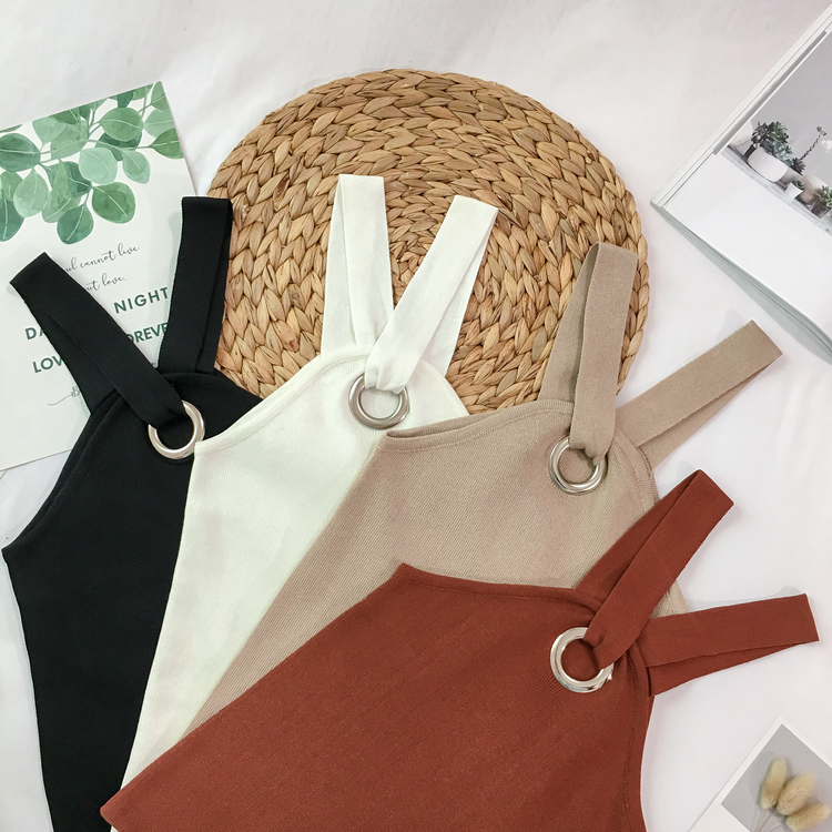 Summer Women Fashion Slim Knitting Tank Crop Tops Girls Knitted Camisole Solid Tee shirts Camis Tops Knitwear for Girls