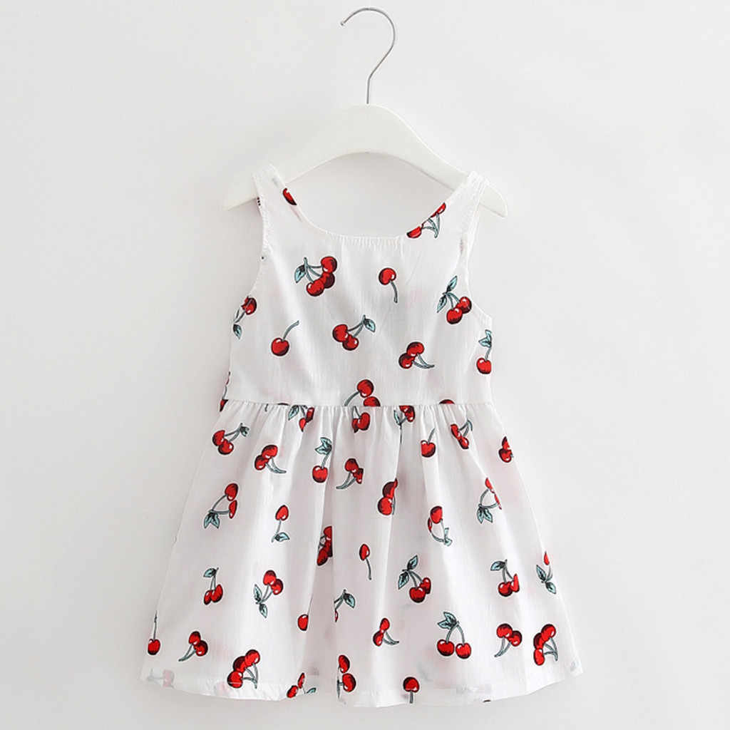 Toddler Girls Summer Princess Dress Cherry Printed White Navy Kids Baby Party Wedding Sleeveless Baby Dresses Vestido Infantil