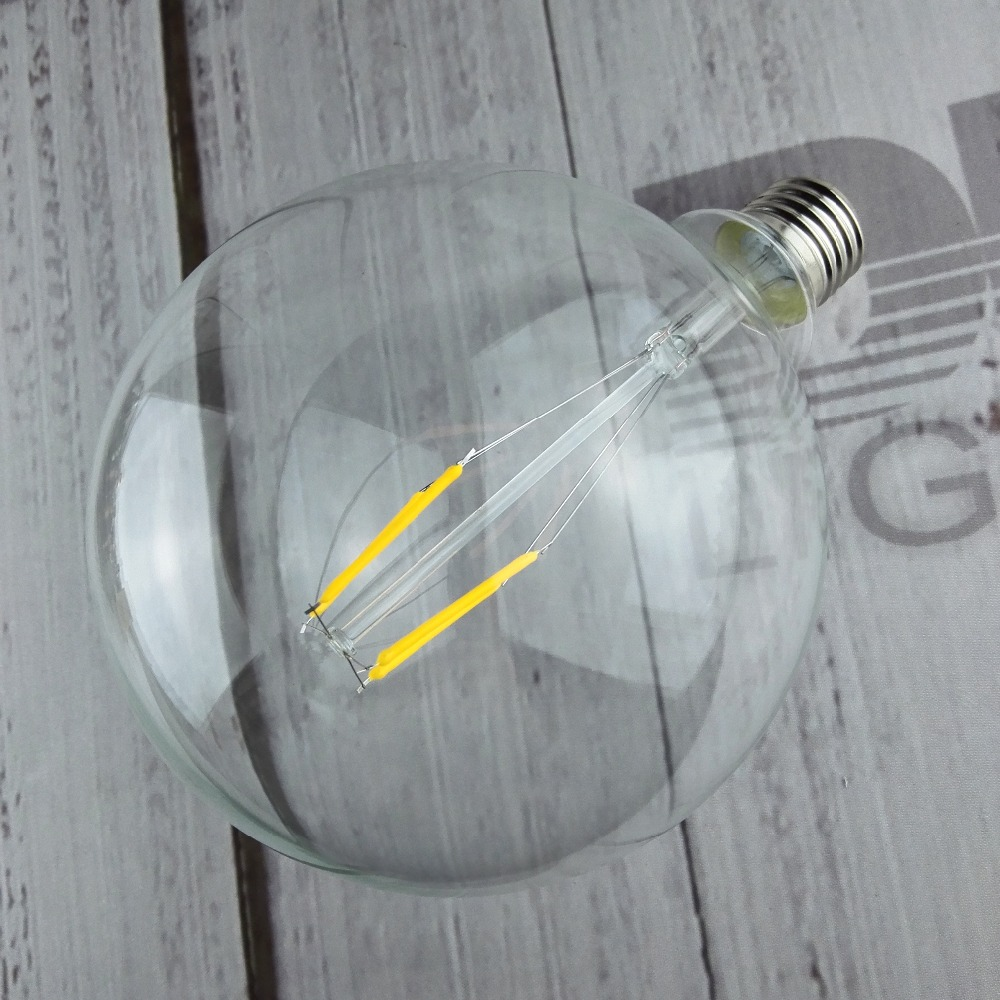 Livraison gratuite G125 filament LED 2/4/6/8 W D125mm * H178mm globle abat-jour rond eidson ampoules pour la décoration intérieure 220 V E27