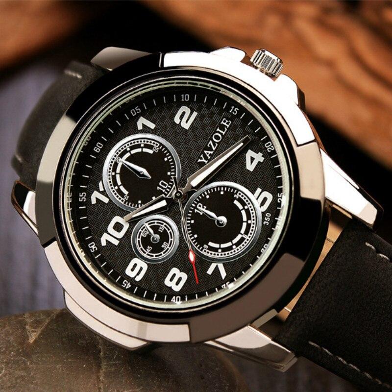 Новое поступление Yazole кварцевые часы мужской кожаный ремешок высококачественные военные спортивные часы мужские часы кварцевые часы Reloj Hombre
