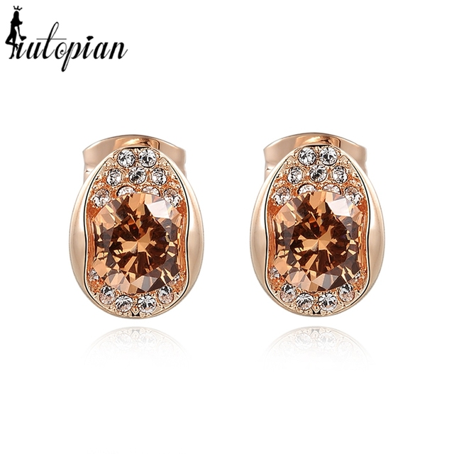 Us 6 38 Iutopian Fashion Jewellery Legant Brown Stone Stud Earrings For Women With Aaa Level Cubic Zirconia In From Jewelry