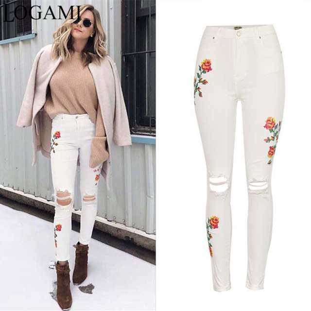 824da4ff8ef83 LOGAMI White Ripped Pants High Waist floral Embroidery Skinny Jeans Woman Denim  Jeans Womens Pants With Embroidery
