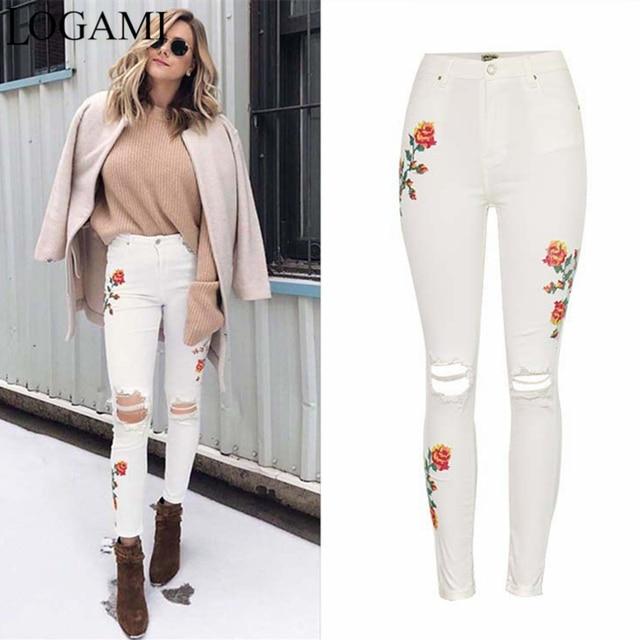 LOGAMI Blanc Déchiré Pantalon Taille Haute Floral Broderie Skinny Jeans  Femme Denim Jeans Femmes Pantalon Avec