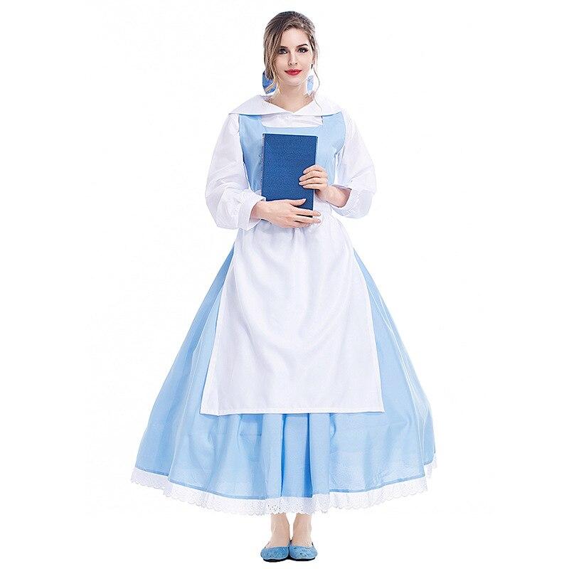 Belle Costume Blue Dress Adult Beauty and The Beast Halloween Fancy Dress