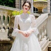 Высокая шея свадебное платье принцессы 2018 длинные рукав с накладной аппликацией Королевский Brida халат де брак элегантное платье для брачно