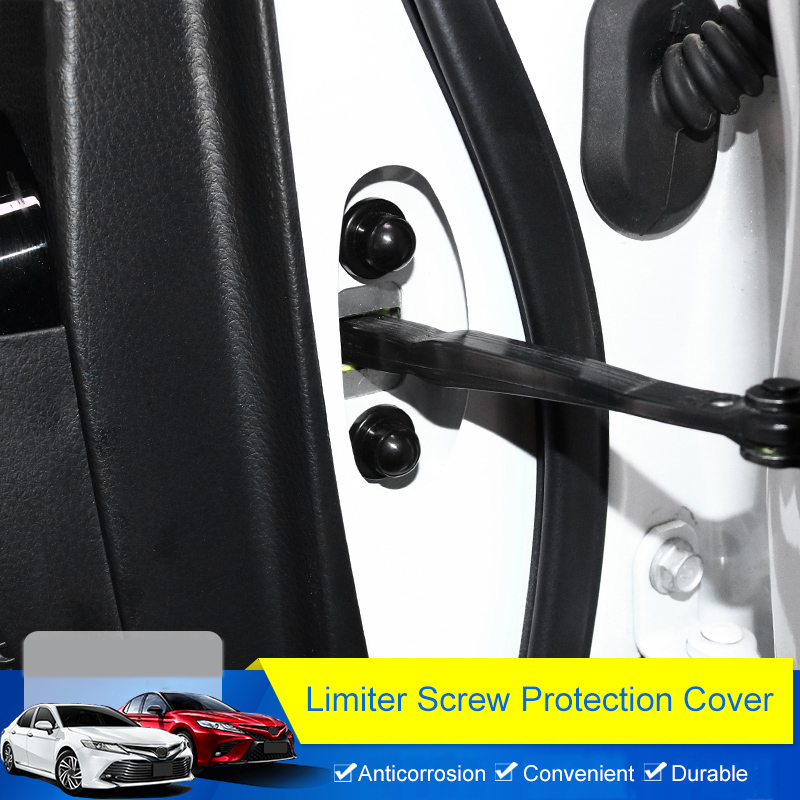 QHCP Limiter Screw Cover 4Pcs/Set ABS Front Door Protection Anti rust Caps Car Styling Accessories Special For Toyota Camry 2018 Door Lock Protective Cover     - title=