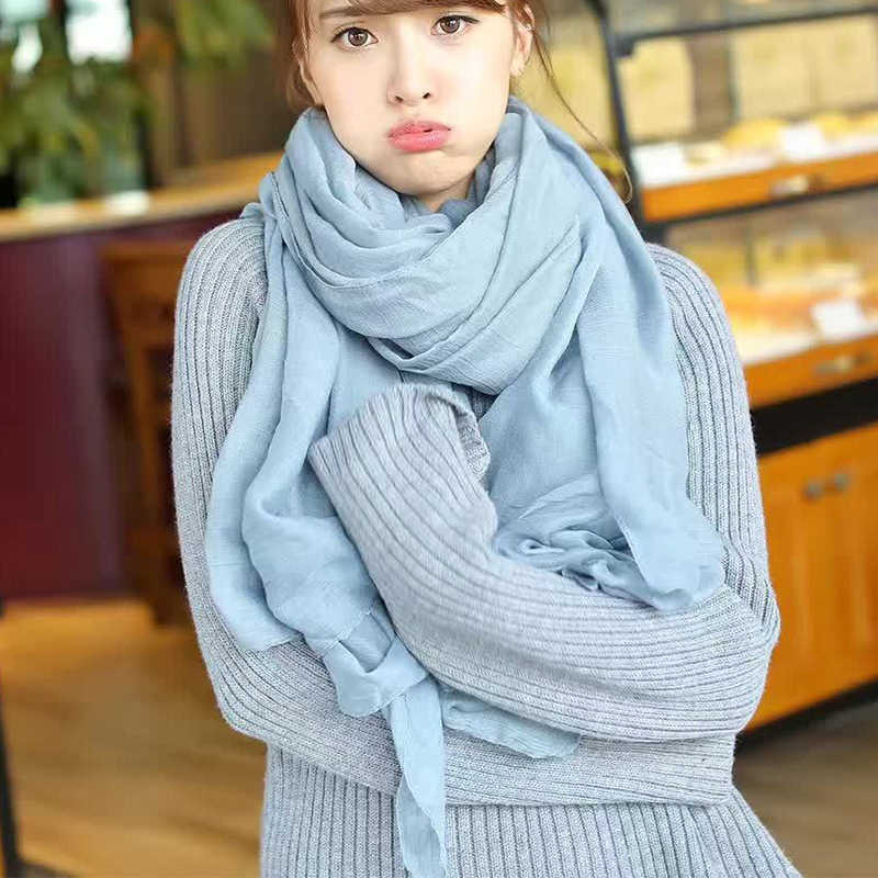 XIYUAN Brand Cotton Linen Scarf For Women New Gray/White/ Solid Color Warm Autumn Ladies Long Scarves Female Scarf Lady Shawls