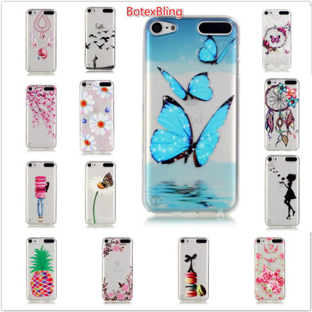 new product 221b9 ad912 US $3.99 |BotexBling for apple ipod touch 6 case Colorful Macarons girl  relief Design butterfly soft silicone TPU Cover For iPod Touch 5-in Fitted  ...