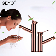 GEYO Rose Gold Bathroom Basin Faucet Single Handle Single Hole Mixer Tap Heightened Hot And Cold Tap Sink Brass Faucet bathroom faucet gold single handle sink mixer tap bathroom single hole wash basin faucet polished tap free shipping mt 3617a