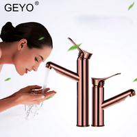 GEYO Rose Gold Bathroom Basin Faucet Single Handle Single Hole Mixer Tap Heightened Hot And Cold Tap Sink Brass Faucet