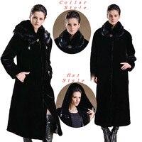 Россия Стиль зима Для женщин пальто с искусственным мехом Для женщин искусственным мехом Зимние теплые длинное пальто manteau де fourrure