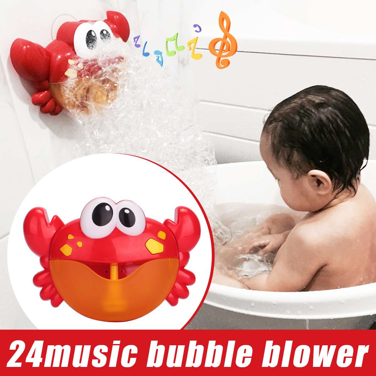 New Crab Music Bubble Blowing Bath Machine Bubble Maker Funny Baby Bath Toy US