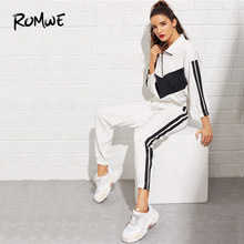 ROMWE Drop Shoulder Corduroy Jacket Tape Detail Pants 2019 Women Striped Sleeve