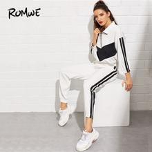 2b5497290 ROMWE caída de hombro chaqueta de pana de detalle de cinta 2019 pantalones  las mujeres primavera Otoño de dos piezas alfil blanc.