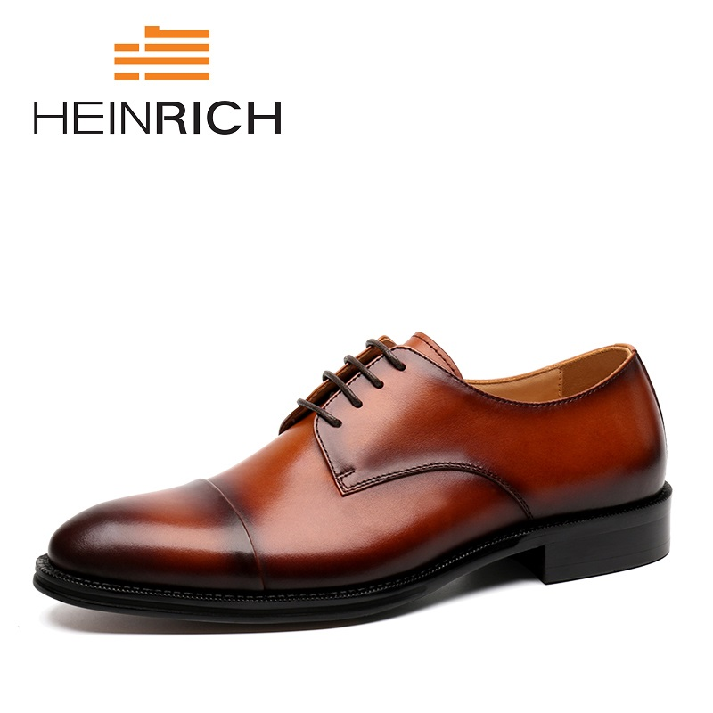 HEINRICH 2018 New High Quality Genuine Leather Men Shoes Derby Lace-Up Round Toe Business Dress Men Shoes Chaussure Ville Homme men s dress shoes genuine leather cowhide leather pig inner round toe derby style wedding business shoes 2018 new lace up