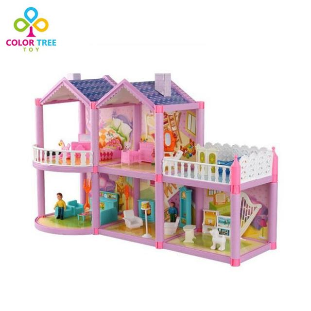 Kids Toys Doll House 3D Mini Simulation Villa With Animal Characters  Furnitures Assembled Villa Birthday Xmas 759aaee4164d