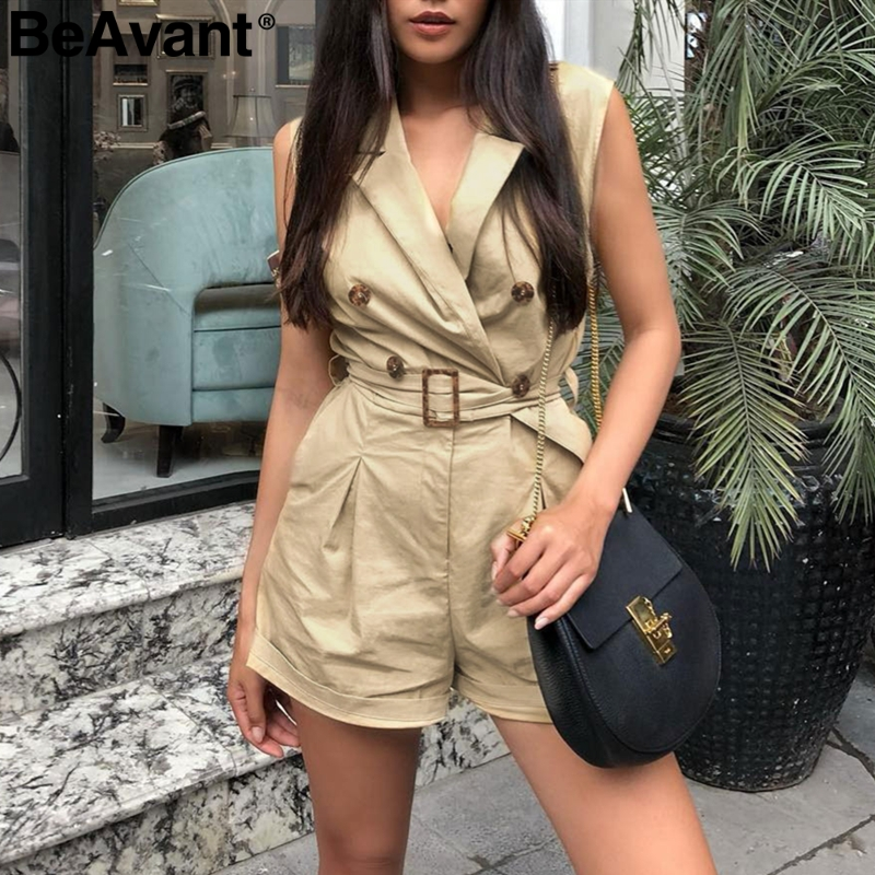 db9e5cb476 BeAvant Office ladies rompers womens jumpsuit Female summer short cotton  playsuit overalls V neck buttons combinaison femme-in Rompers from Women s  Clothing ...