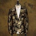Chaqueta de la chaqueta de fiesta del banquete de boda de otoño invierno masculina calidad patrón decorativo personalidad cantante bailarina estrellas de rendimiento