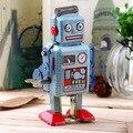 1 unid Vintage Mecánica Clockwork Wind Up Metal Walking Robot Tin Toy Kids Worldwide Regalo Venta Caliente