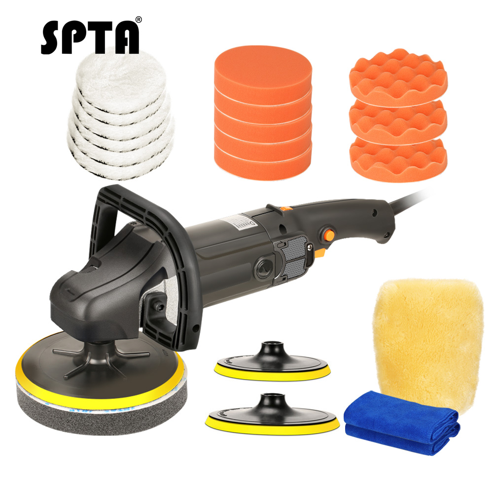 SPTA 7 Inch 180mm Variable Rotary Mini car Polisher Car Paint buffer Care Auto Tool car Polishing Machine Sander wood M14 Thread