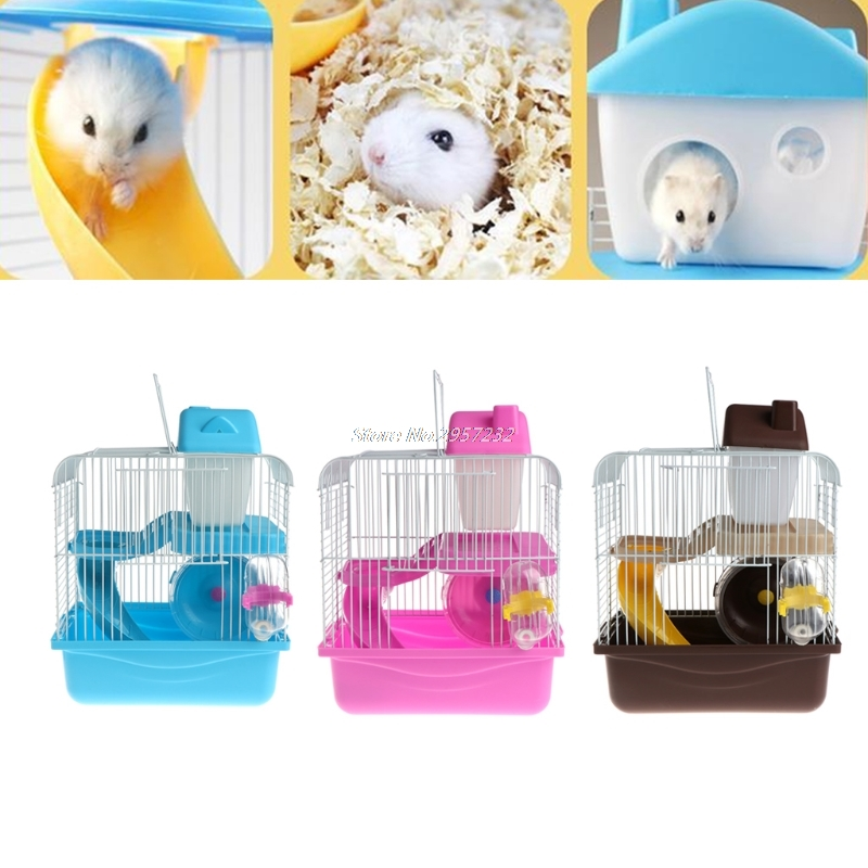 4Color 2 Floors Storey Hamster Cage Mouse house with slide disk spinning bottle yy56
