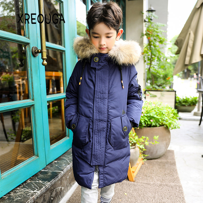 Korean Style Kids Boys Long Warm Down Coat Fashion Fur Collar 80% Duck Down Overcoat Thicken Winter Children Boys Coats WDK01 new winter women long style down cotton coat fashion hooded big fur collar casual costume plus size elegant outerwear okxgnz 818
