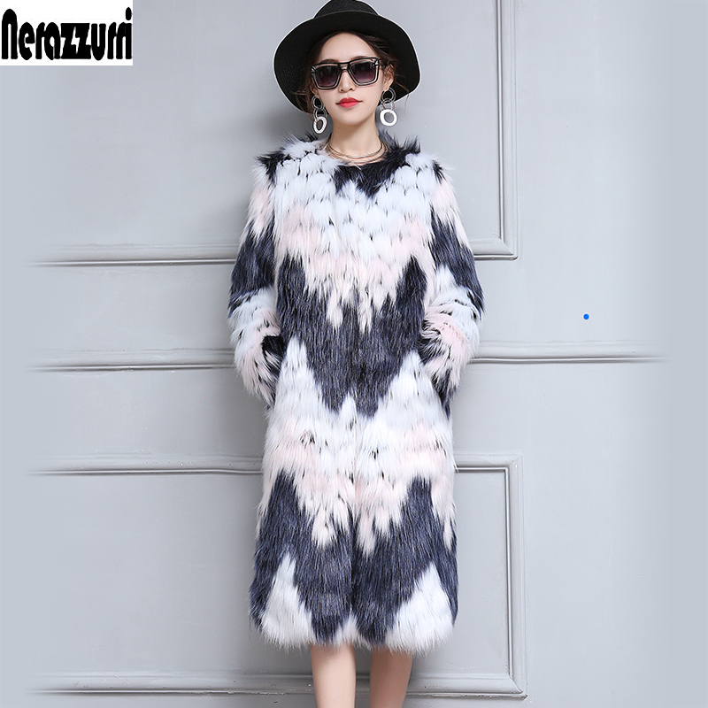Nerazzurri Women Winter Faux Fur Coat Long Gradual Color Furry Luxury Fake Fox Fur Jacket Large