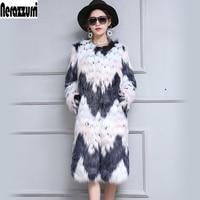 Nerazzurri Women Winter Faux Fur Coat Long Gradual Color Furry Luxury Fake Fox Fur Jacket Large Size Female Overcoat 5xl 6xl 7xl