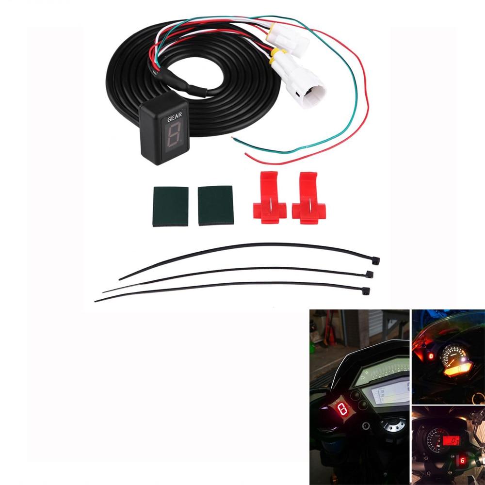 Мотоцикл ЭБУ Вилка Крепление 6 Скорость цифровой Шестерни индикатор Дисплей рычаг переключения датчики для Yamaha FZ-16 FZ-S FZ400 красный светодио д...
