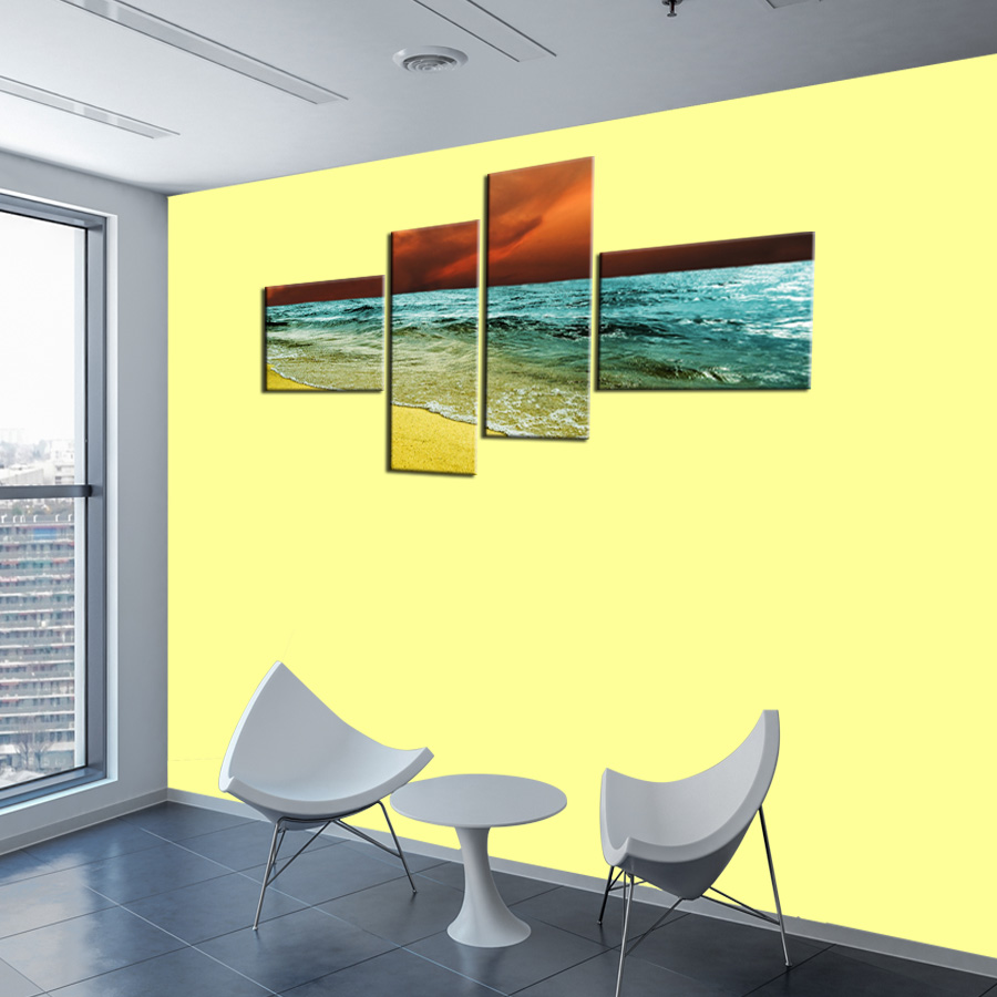 ShineHome 4pcs Wave Skyline Seascape Wall Art Canvas Prints Nature ...