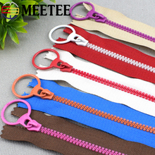 10Pcs Meetee 15-40cm 3# Closed End Resin Zippers Pull Ring Zip Slider Head for Sewing Bags Wallet Purse Cloth Accessories Crafts
