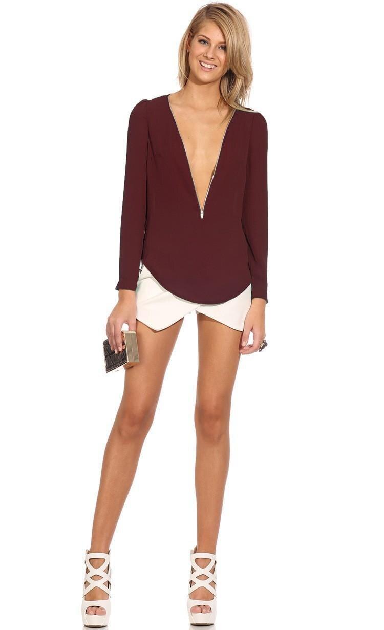 2017 Wysokiej Jakości Kobiety Bluzki i Koszule głębokie v szyi ubrania Mody Stałe szyfonowa Koszula sexy Bluzki Koszule damskie 11