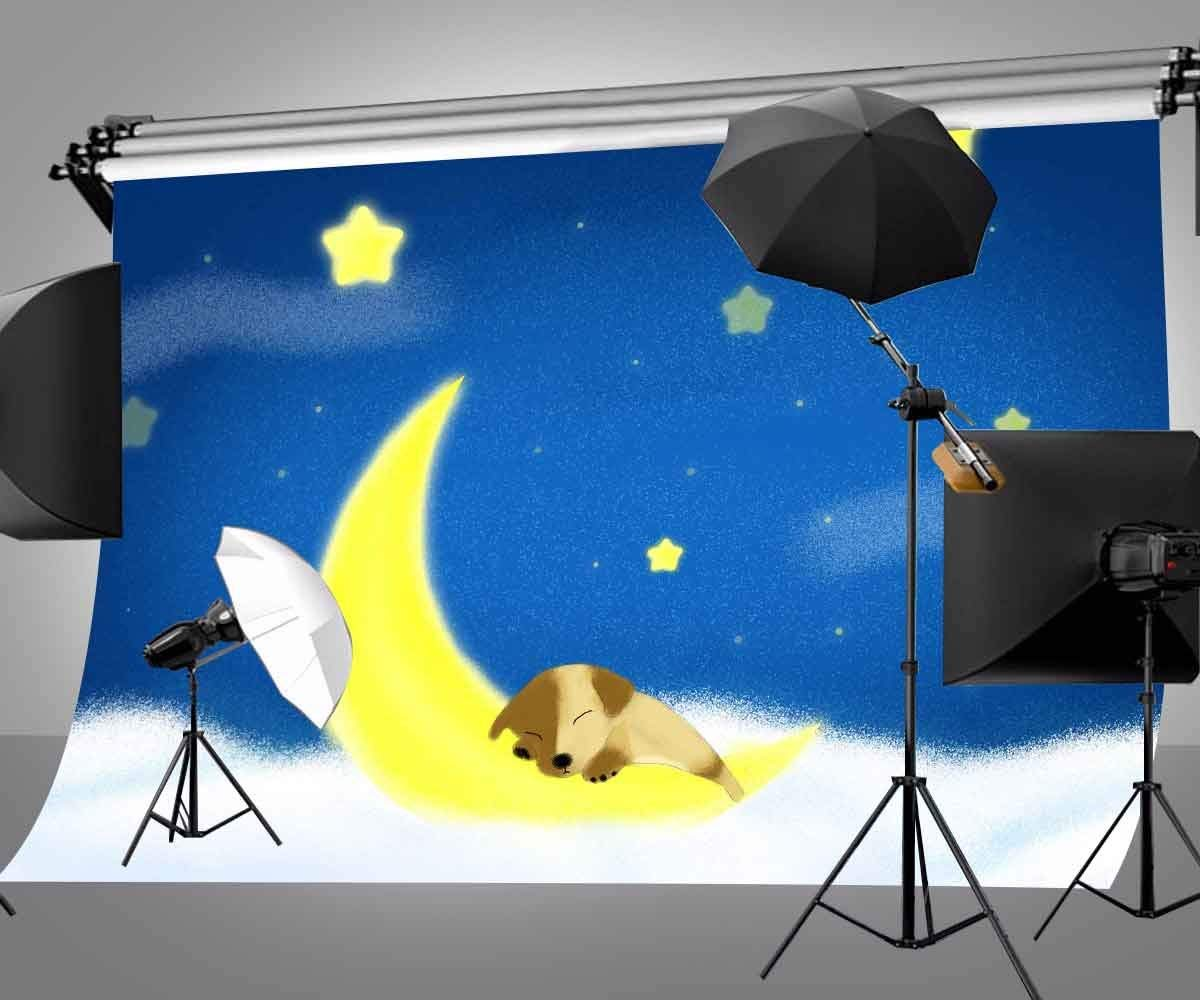 150x220cm Cartoon Fairy Tale Backdrop Blue Midnight Yellow Moon and Stars Sleeping Dog Photography Background in Photo Studio Accessories from Consumer Electronics