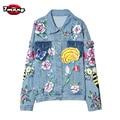2017 новый женщины улица красочные партии цветок патчи голубой нагрудные джинсы куртки с длинным рукавом harajuku vintage denim пальто