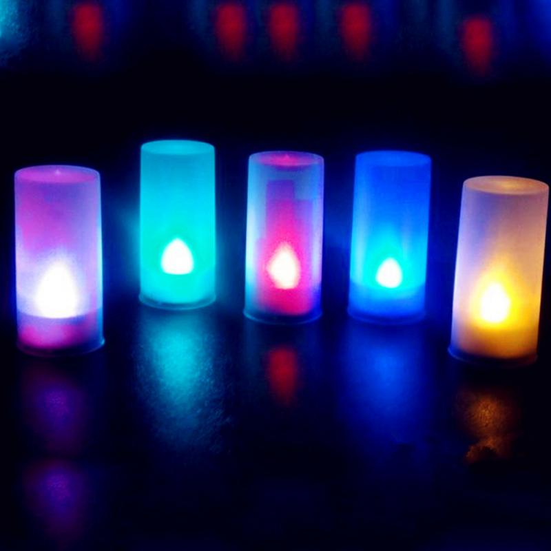 LED Electronic Flameless Switch Candle Night Light With Cup Mood 7-color voice-activated Light Lamp For Home Wedding Decoration