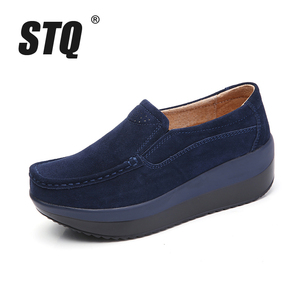 Image 2 - STQ 2020 Autumn Women Flat Platform Sneakers Leather Suede Moccasins Shoes Ladies Blue Casual Oxford Shoes Slip On Flats 3213