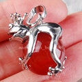 Free Shipping Beautiful jewelry Natural Red Agate Frog Ball Round Women Men Pendant Bead  PC3710