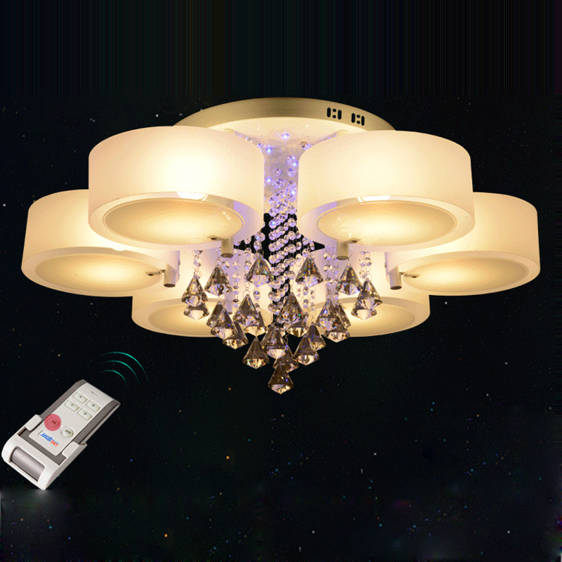 Ecolight Modern Chandelier Crystal with Remote Control 6 Lights Led Chandeliers Light for Bed Living Room 220-240 Volt modern crystal chandelier light for dining room e14 crystal chandeliers living room round lights curtain lights wpl091