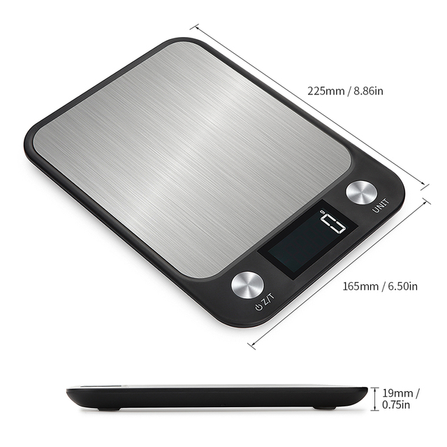 Stainless Steel Electronic Kitchen Scales 5Kg/10Kg 1g