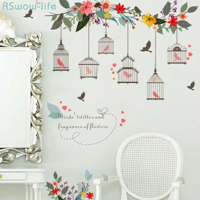 Home Decoration Stickers Flower Vine Bird Cage TV Background Wall Decoration Mural Removable Wall Stickers For Home Decor