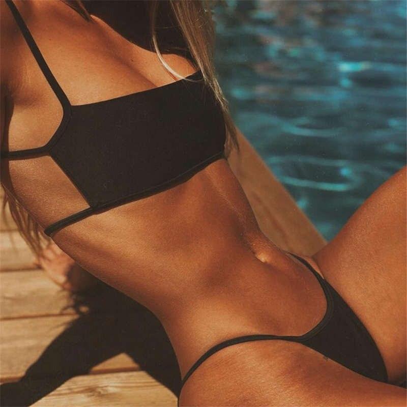 HTB1h4zfVQvoK1RjSZFwq6AiCFXaH Sexy Stripe Print Swimsuit Women Solid Tube Top Bathing Suit High Cut Bikini Set Backless Beachwear Summer Brazilian Swimwear