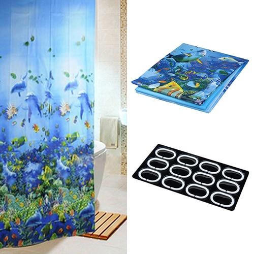 Blue Deep Sea Fish Pattern Waterproof Shower Bathroom Curtains With 12 Hooks