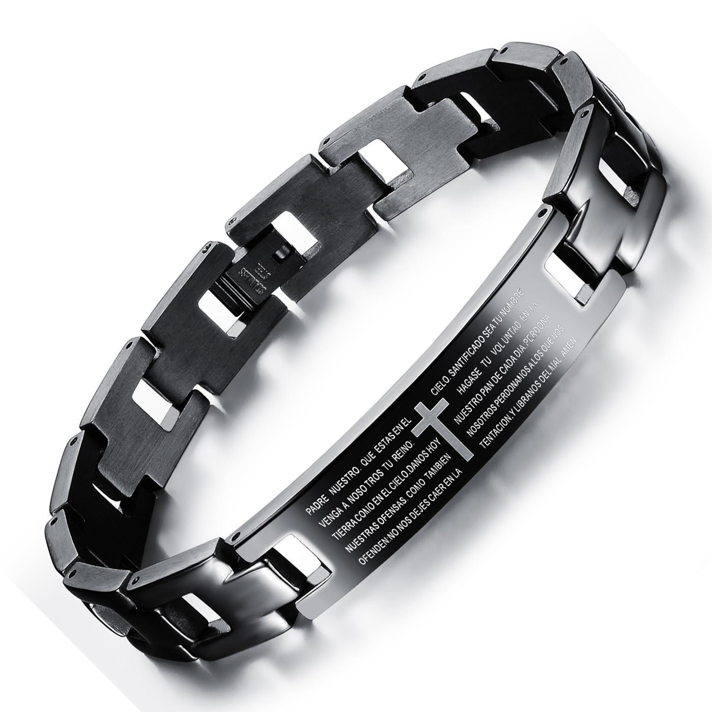 Spanisch Bibel Herr Gebet Hand Armbänder & Armreifen Korrosion Kreuz Edelstahl herren Armband